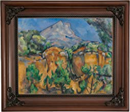 Historic Art Gallery Mountains Mont Sainte-Victoire Seen from The Bibemus Quarry 1897 by Paul Cezanne Framed Canvas Print, Size 8x10, Brown