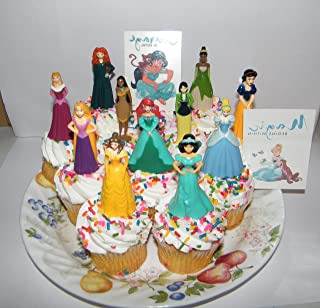 Disney Princess Deluxe Cake Toppers Cupcake Decorations Set Of 13 With 11 Topper Figures And 2