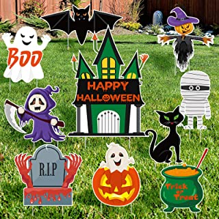 URATOT 10 Pack Halloween Decorations Yard Signs Halloween Trick or Treat Yard Sign Outdoor Halloween Yard Signs Lawn Decor...