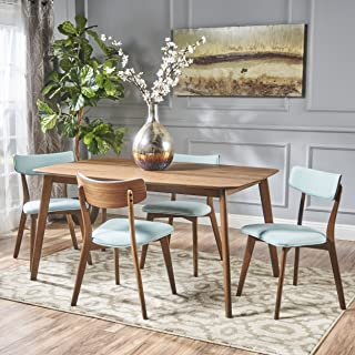 Christopher Knight Home Aman Mid Century Natural Walnut Finished 5 Piece Wood Dining Set with Mint Fabric Chairs