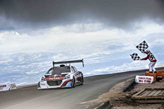 Peugeot 208 T16 Pikes Peak Race Day (2013) Car Art Poster Print on 10 mil Archival Satin Paper White Front Finish Line Motion View 36