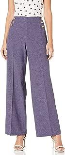 Anne Klein Womens 10725028-6UM High Waisted Wide Leg Pant Pants - Blue