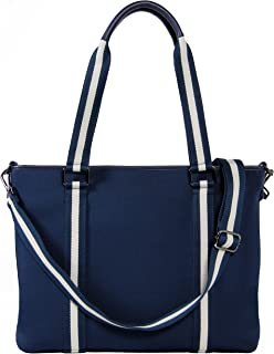 BFB Neoprene Laptop Bag for Women - No More Boring Briefcases - Here's a 17 Inch Computer Bag Thats Lightweight and Stylish - Look and Feel Great Carrying This Designer Business Shoulder Bag - Navy