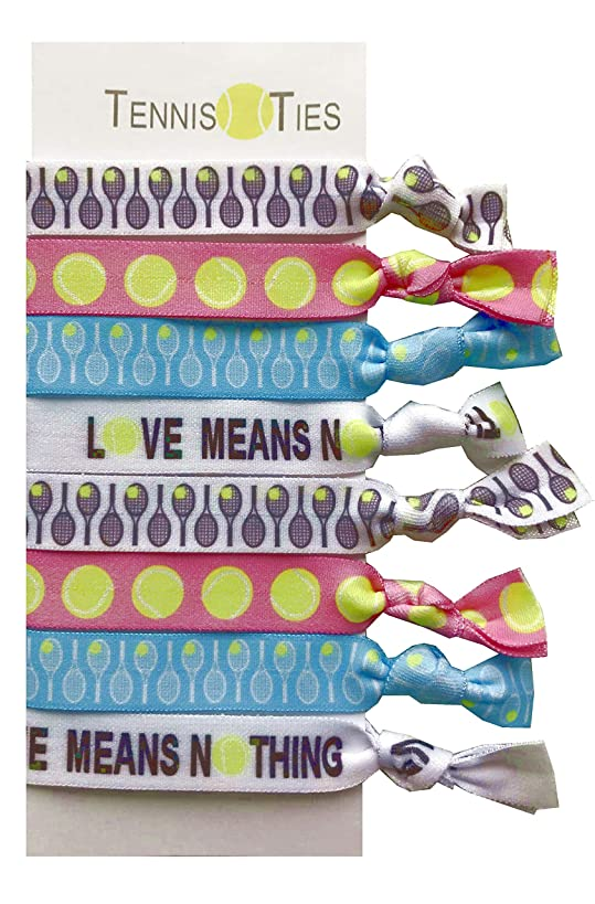 8 Piece Tennis Hair Elastic Set - Accessories for Players, Women, Girls, Coaches, Doubles Partners, High School Tennis Teams, Women's Leagues -MADE in the USA