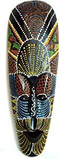AFRICAN HAND CARVED ABORIGINAL DOT ART WOODEN TRIBAL MASK WALL DECOR