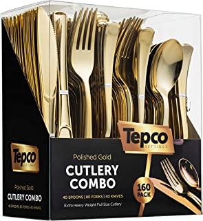 160 Plastic Silverware Set - Plastic Cutlery Set - Disposable Flatware - 80 Plastic Forks, 40 Plastic Spoons, 40 Cutlery K...
