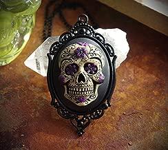Purple and Black Sugar Skull Dia De Los Muertos Day of the Dead Hand Made Cameo Necklace