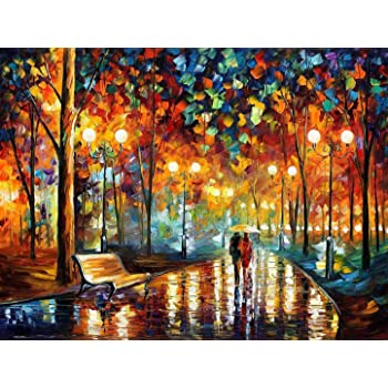 MY BIBY Wood Wooden Jigsaw Puzzles 1000 Pieces for Adults Romantic Rainy Night Jigsaw Puzzles Toys
