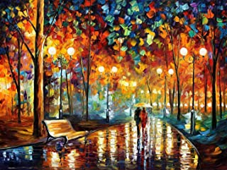 Queenie Romantic 1000 Piece Couple Lovers Rainy Night Walk Abstract Oil Painting Street Night Scene Adults Games Wooden Jigsaw Puzzles, Finish Size 30''x20''