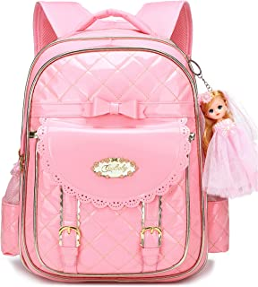 Waterproof Princess School Backpacks for Girls Cute Kids Book Bag Travel Daypack (Pink, Small)