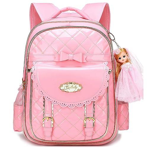 1f20dd93be Waterproof Princess School Backpacks for Girls Cute Kids Book Bag Travel  Daypack (Pink