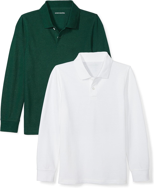 Amazon Essentials Boys' Uniform Long-Sleeve Pique Polo Shirts