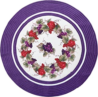 LOCHAS Braided Area Rug Round Carpet 3.2' x 3.2' Natural Fiber Hand Woven Reversible Solid Carpet for Living Room Bedroom Kitchen Hallways Floor Stairs Rugs, Purple-Flower