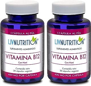 Liv Nutrition   Vitamina B12 con Noni   2 Frascos con 30 Cápsulas cada una   Rinde 2 Meses   Cada Cápsula contiene 12 µg d...