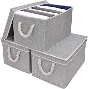 StorageWorks Storage Bins With Lids, Decorative Storage Boxes With Lids And Cotton Rope Handles, Gray, Jumbo, 3-Pack