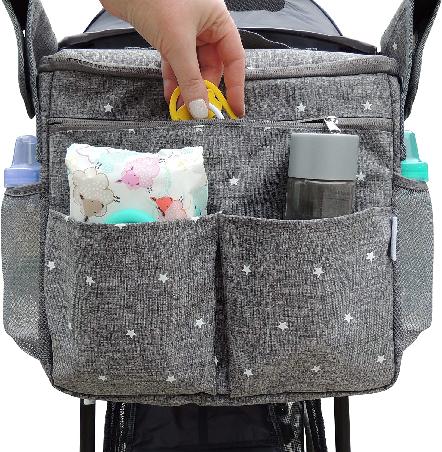 YOUTAI Stroller Organizer Bag, Large Parents Console Bag with Cup Holders and Storage Pockets, Universal Design to Easily Attaches to Any Stroller