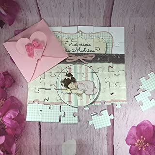 Vuoi essere la mia madrina? Puzzle biglietto per madrina o padrino di battesimo o cresima, personalizzato, disegno a scelta