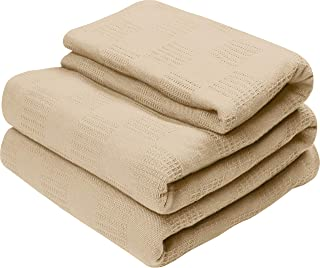 Utopia Bedding Premium Cotton Blanket Full/Queen Beige - Soft Breathable Thermal Blanket - Ideal for Layering Any Bed