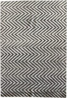 Landry & Arcari Elysia Collection J42351 Hand-Woven Forest & Silver Modern Geometric Pattern Wool Area Rug 6 feet by 9 Feet (6x9)