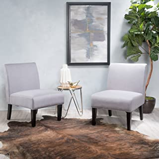 Christopher Knight Home Kendal Light Grey Fabric Accent Chair, Two