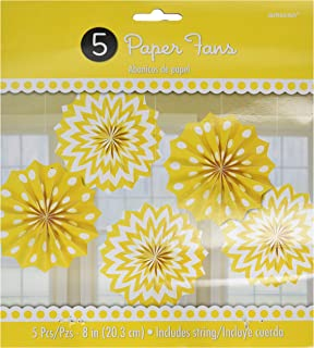 Amscan 298901.09 Party Supplies Printed Paper Fans, 8 inches, sunshine yellow