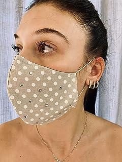 Mascherina Unisex Lavabile 100% cotone beige pois bianchi e strass