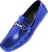 Amali Pink Men's Perforated Patent Driving Moccasin Shoe, Easy Comfortable Slip On Loafer, Style Rila