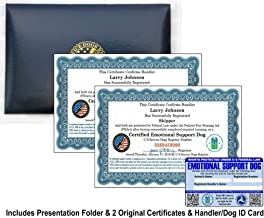 Leather Presentation Folder with Fully Customized Set of 2 Certified Emotional Support Dog Certificates & 1 Handler/Dog Information ID Card – Includes Free Registration at U S Service Dogs Registry