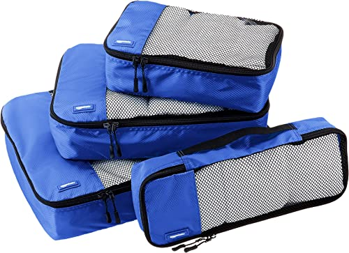 AmazonBasics Packing Cubes/Travel Pouch/Travel Organizer - Small, Medium, Large, and Slim, Blue (4-Piece Set)