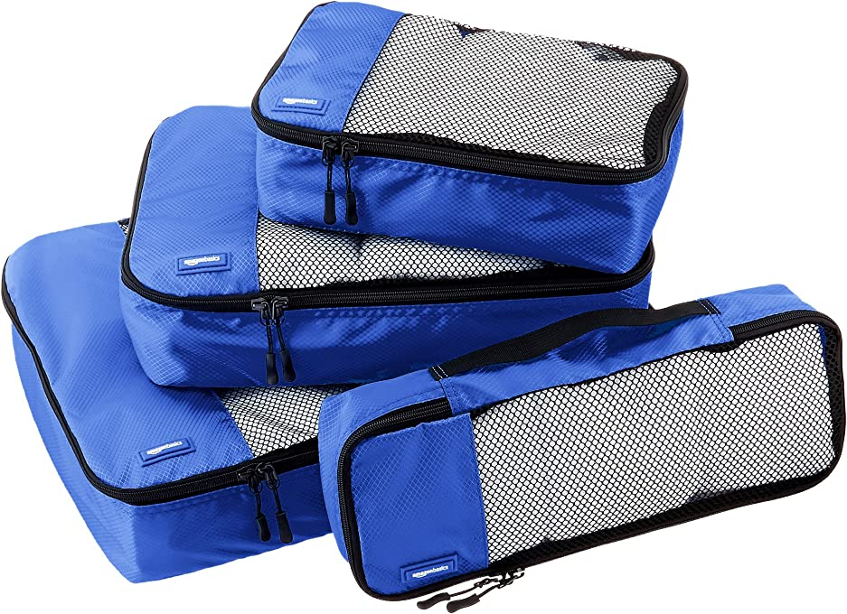 AmazonBasics 4-Piece Packing Cube Set - Small, Medium, Large, and Slim, Blue