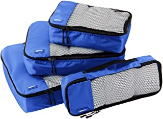 AmazonBasics 4 Piece Packing Travel Organizer Cubes Set, Blue