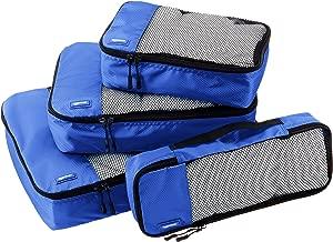 AmazonBasics 4 Piece Packing Travel Organizer Cubes Set – Blue