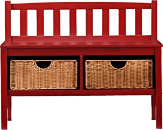 Southern Enterprises Storage Entryway Storage Bench - Underneath Rattan Baskets - Red Finish