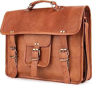 Vintage Leather Messenger Bag Berlin M, Briefcase for Men and Women - Brown