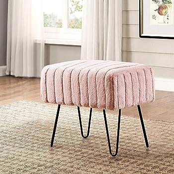 "Home Soft Things Serenta Super Mink Faux Fur Ottoman Bench, 19"" x 13"" x 17"" H, Rose Smoke"