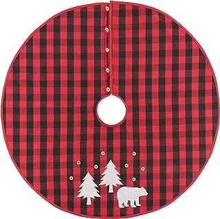 Now Designs 3016001 Tree Skirt Buffalo Check Bear,