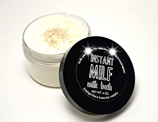 Badgerface Instant MILF Milk Bath Soak for Dry Skin and Stretch Marks with Oatmeal, Green Tea Extract, Carrot and Lavender Essential Oils-Quirky Mother's Day Gifts, 4 ounce Jar