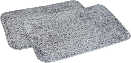 Amazon Brand - Solimo Anti-Slip Microfibre Bathmat, 40cm x 60cm - Pack of 2 (Grey)