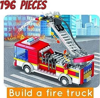 City Fire Ladder Truck Building Blocks Set Building kit for Kids(196 Pieces)