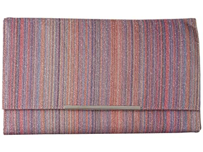 Jessica McClintock Nora Striped Flap Clutch (Pink Stripe) Handbags