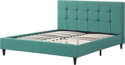 AC Pacific Modern Platform Bedframe With Wooden Slats, King Size, With Square Stitching Tufted Finish, Turquoise