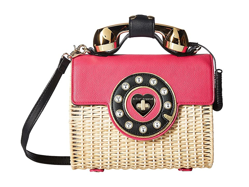 Betsey Johnson Wicker Phone Bag (Magenta) Handbags, Pink
