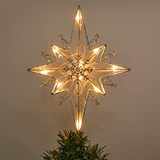 Valery Madelyn 10-Light 13.5Inch Frozen Winter Silver White Star Treetop, Metal Christmas Tree Topper, Battery Operated (Not Included)