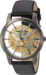 Kenneth Cole New York Men's Stainless Steel Japanese-Automatic Watch with Leather Strap, Black, 21 (Model: 10031272)