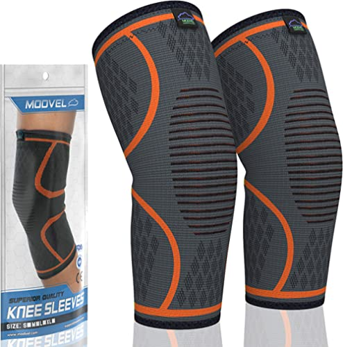 Modvel 2 Pack Knee Compression Sleeve | Knee Brace for Men & Women | Knee Support for Running, Basketball, Weightlift...