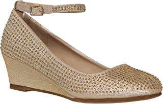 MVE Shoes Women's Sparkle Wedge-Round Toe Ankle Strap-Rhinestones Party Pumps-Shoes