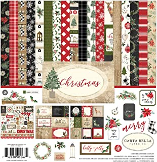 Carta Bella Paper Company CBCH89016 Christmas Collection Kit Paper, Red/Green/Black/Tan
