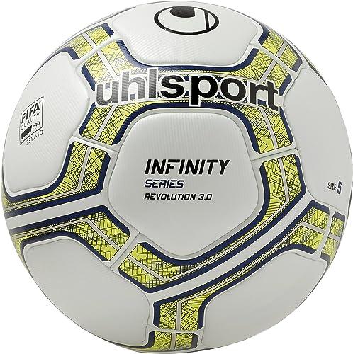 Uhlsport Infinity Revolution 3.0 Balle Football Mixte Adulte, Blanc Fluo Jaune Marine, 5