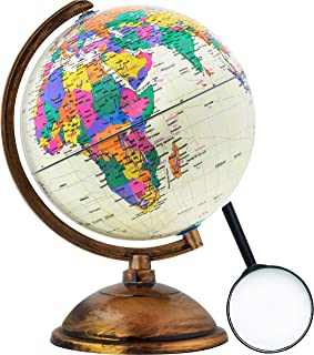 Globe | World Globe for Kids with Free Magnifying Glass| Antique Decorative in Style | World Map Kids Educational Learning Toy Engaging Children | Old World Style for Desktop Stand