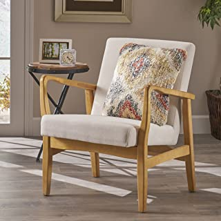 Christopher Knight Home Isaac Mid Century Modern Fabric Arm Chair, Ivory, Walnut
